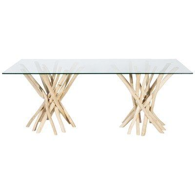 Natural Semarang Glass Top Dining Table With Teak Branch Base Glass Top Dining Table Dining Table Timber Dining Table