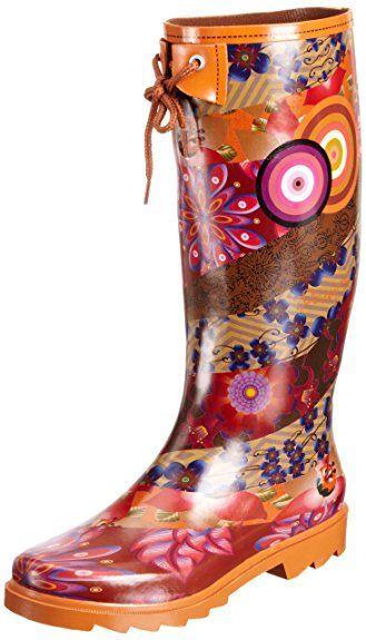 Desigual Schuhe Modell Gummistiefel Muster Floral Ethnisch Exotisch Und Mandala Orange Schuhe Gummistiefel Stiefel