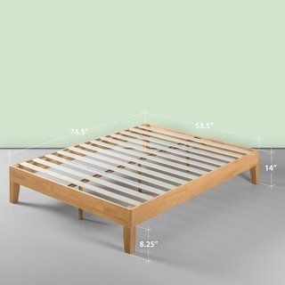 Priage By Zinus Deluxe 14 Inch Wood Platform Bed Queen Tan Wood Platform Bed Platform Bed Simple Bed