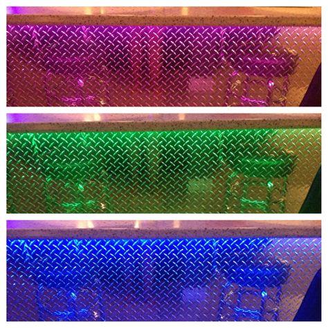Multi Colored Led Lights To Highlight Aluminum Diamond Plate Sheet Metal On A Home Bar Via Brigitte Mybli Diamond Plate Led Indoor Lighting Colored Led Lights