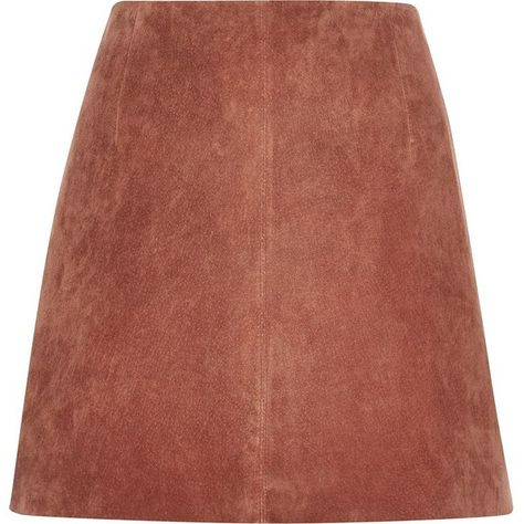 River Island Rust brown suede mini skirt ( 50) ❤ liked on Polyvore  featuring skirts, mini skirts, sale, brown a line skirt, river island, a  line mini skirt ... 0cb8d83916d4