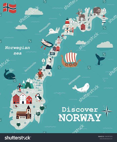 Set of Norway landmarks. Vector illustration
