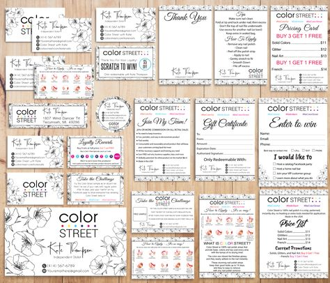 Color Street Marketing Bundle, Personalized Color Street Cards CL77 - Full Kit 16 items / 24 hours