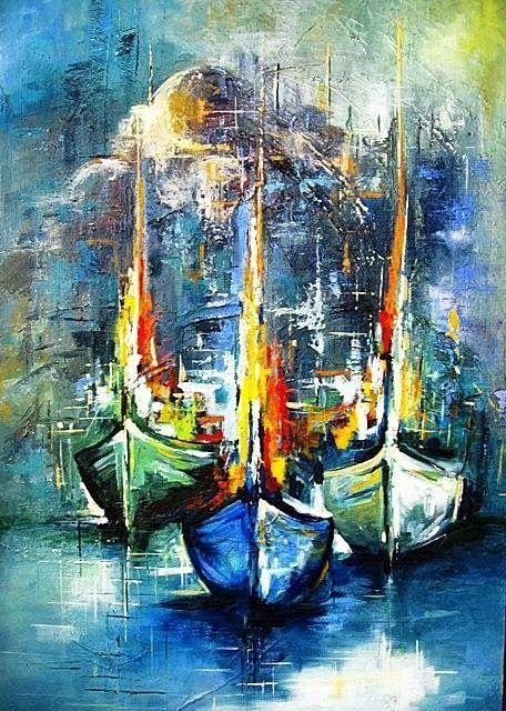 Umran Giz Proje Dunyasi Yagli Boya Manzara In 2020 Sailboat Painting Abstract Abstract Art Painting
