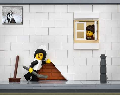 Maid Made Us Look: LEGO Street Art Inspired by Banksy