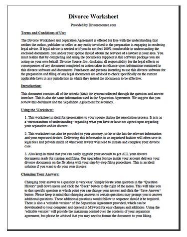 Example Divorce Worksheet Separation Agreement Template Separation Agreement Divorce Forms