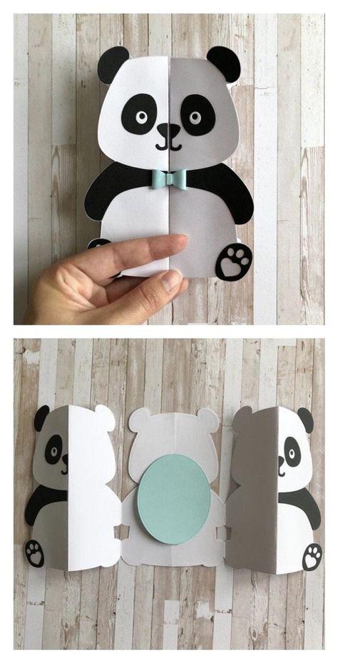 Carte panda faire-part anniversaire naissance remerciement | Etsy