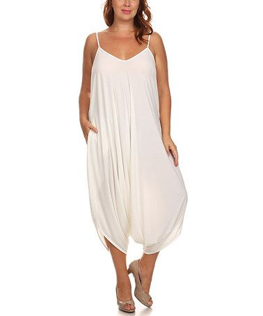 41c38a4db385 Another great find on  zulily! White Harem Jumpsuit - Plus by CANARI   zulilyfinds