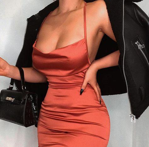 Sexy satin mini dress