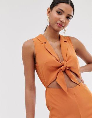 Fashion Union Combinaison nouée sur le devant | Mode