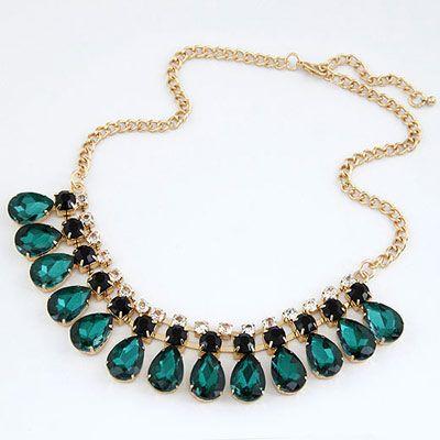 Snowboardi Green Drop Shape Design Alloy Korean Necklaces www.asujewelry.com