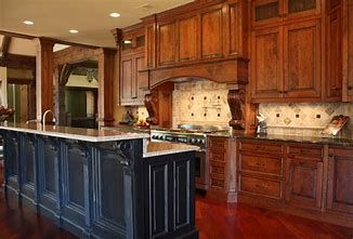 English Chestnut Stain On Oak Cabinets Island Painted Dark Color Good Contrast Oak Cabinets Staining Cabinets Oak Kitchen Cabinets