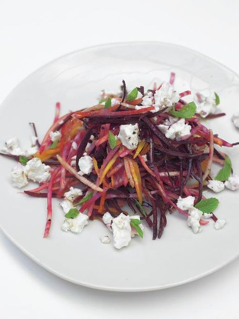 crunchy raw beetroot salad with feta pear   Jamie Oliver