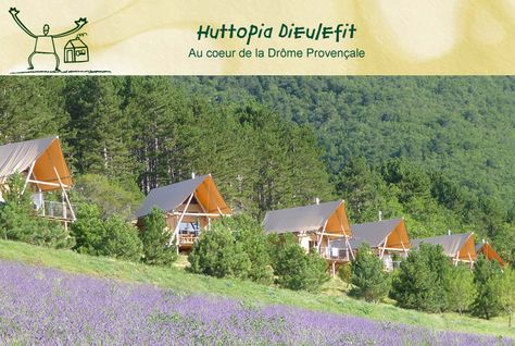 Natuurcamping Huttopia Dieulefit, in het hart van de Drôme Provençale: verhuur van cahuttes, hutten en canadiennes.