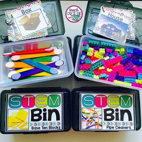 STEM Bins: Hands-on Solutions for Early Finishers - Teach Outside the Box Early Finishers Activities, Early Finishers Kindergarten, Kindergarten Stem, Preschool Centers, Math Centers, Fast Finishers, Busy Boxes, Stem Steam, Steam Activities