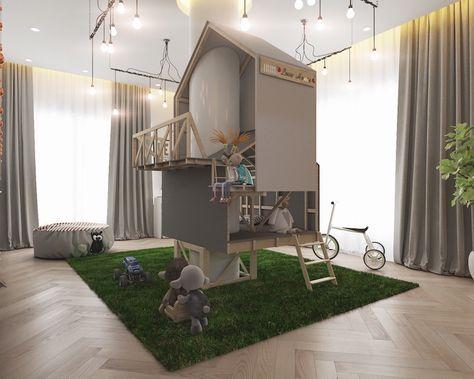 Chambre Enfants De Design Original Avec Maison Pour Enfants En Bois Au  Milieu De La Pièce