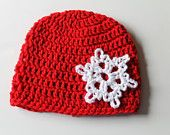 Red Crochet Beanie with White Snowflake Applique by KraftyShack on Etsy, $14.99 USD