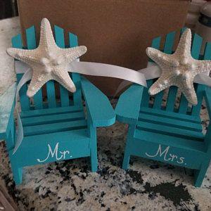 Beach Wedding Cake Topper 2 Mini Adirondack Chairs With Starfish