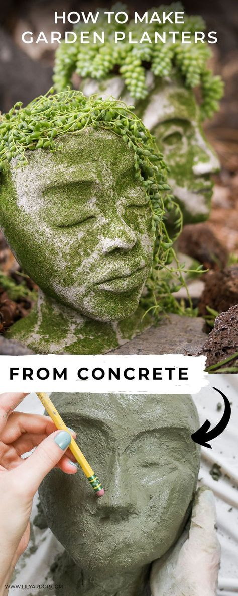 DIY Concrete Head Planters - Planters - Ideas of Planters . DIY Concrete Head Planters - Planters - Ideas of Planters - Heres how to make your own head planters! Its really easy and quick! Perfect for your garden! Diy Concrete Planters, Head Planters, Concrete Crafts, Concrete Projects, Concrete Garden, Diy Planters, Garden Planters, Planter Ideas, Diy Garden Projects