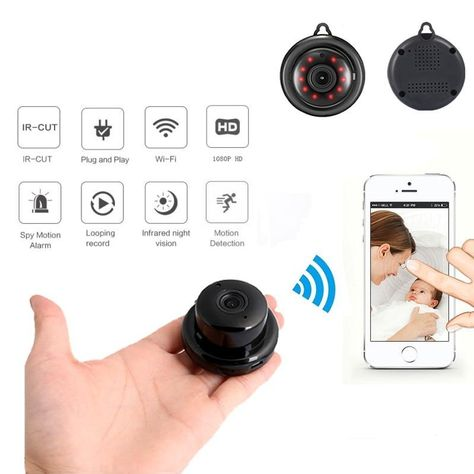 SDETER Wireless 1080P Mini Portable Car Key Camera Built-in Rechargeable Battery with Motion Detection Video Recording WiFi Hidden Spy Keychain Cameras