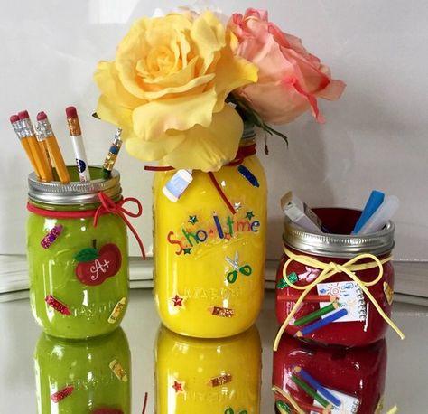 Mason jar decor painted mason jars Teacher by ArtisticTouchCo
