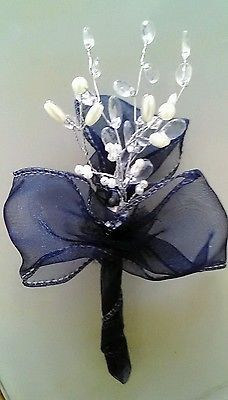 New Crystal Pearl Onhole Navy Blue Ribbon Plus Pin Wedding Guest Prom