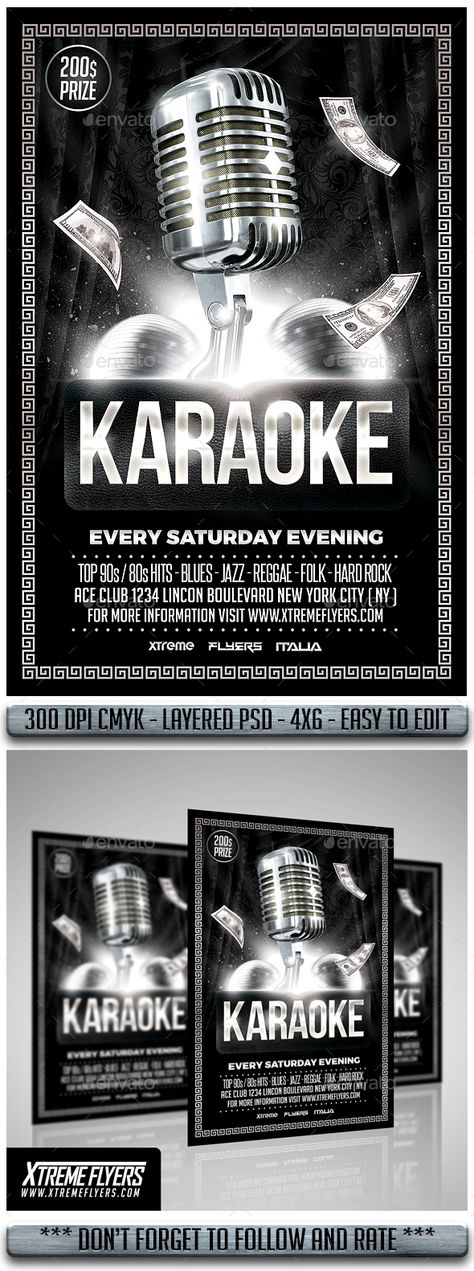 Karaoke Flyer Karaoke, Party poster and Flyer template - comedy show flyer template
