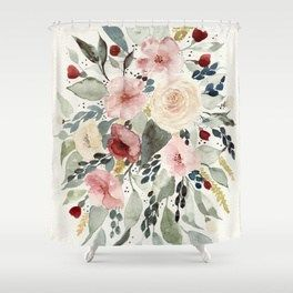 Loose Watercolor Bouquet Shower Curtain Shower Curtains