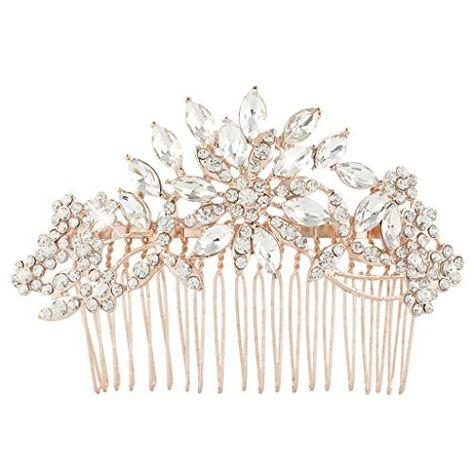 EVER FAITH® österreichischen Kristall Blume Art Deco Schneeflocke Haarkamm Haarschmuck - Rosagold-Ton N01163-3