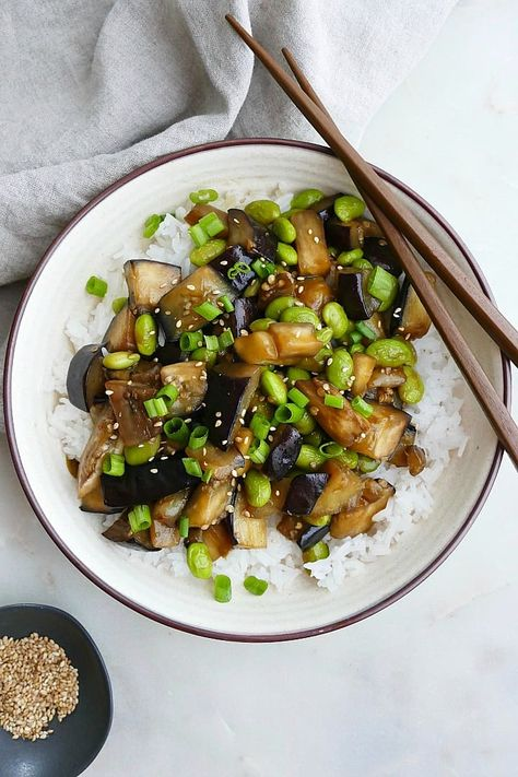 Eggplant Teriyaki is a an easy vegan dinner recipe for busy nights! It's ready in only 30 minutes and features a homemade teriyaki sauce, protein-packed edamame, and fluffy jasmine rice. This Japanese inspired eggplant dish is sure to be a hit. #vegan #eggplantrecipe
