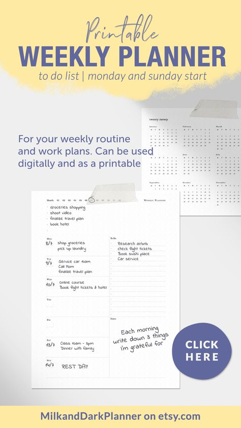 Printable and digital weekly planner with to do list and space for notes and thoughts. Start anytime with this undated planner and print only as needed #weeklyprintable #weeklyplanner #weeklyhorizontal #undatedplanner #weeklyoverview #functionalplanner #productivityplanner #digitalplanner #A4Letter #weeklyroutine #workplan