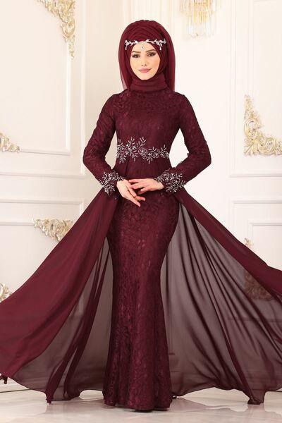 Modaselvim Abiye Beli Incili Dantel Balik Abiye 8855w153 Bordo Aksamustu Giysileri Moda Stilleri The Dress