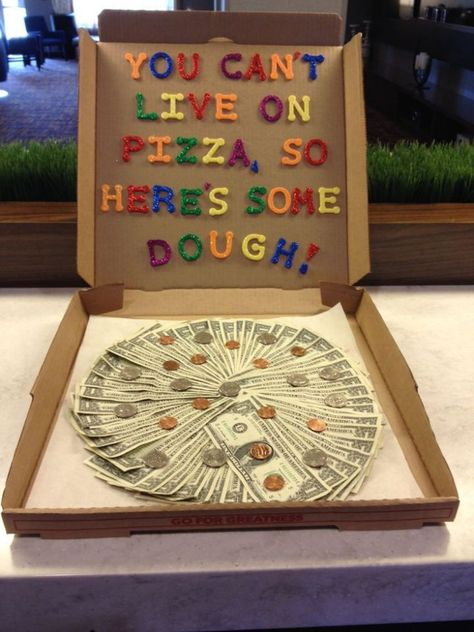 """Special delivery! Here is a clever way to give money. Just get a pizza box and spread the money in a circle and let them enjoy the """"dough."""""""