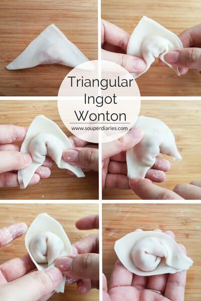 How To Wrap Wontons Purse Ingot Fish More Souper Diaries Wonton Recipes Asian Recipes Wonton Wraps