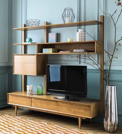 Tv Furniture Selection Of Furniture Deco And Practical Scandinavian Tv Furniture Oak Gray Yellow W In 2020 Interior Design With White Walls Tv Shelf Unit Vintage Shelf
