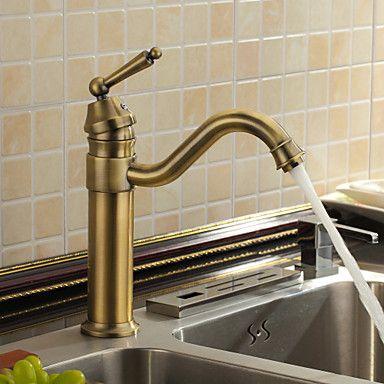 Antique Brass Kitchen Tap Mixer Single Handle Sink Faucet Antique