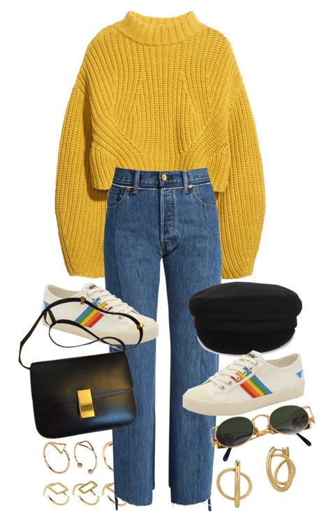 A fashion look from January 2018 featuring yellow crop top, vetements jeans and rubber sole shoes. Browse and shop related looks. Teen Fashion Outfits, Retro Outfits, Outfits For Teens, Trendy Outfits, Fall Outfits, Vintage Outfits, Cute Outfits, Aesthetic Fashion, Aesthetic Clothes