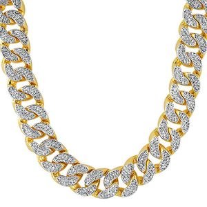 22mm Thick Gold Cz Cuban Chain Correntes Acessorios Png