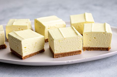 With only four ingredients and no baking required, this light and airy lemon flummery slice is a lovely change from denser cheesecake slices.