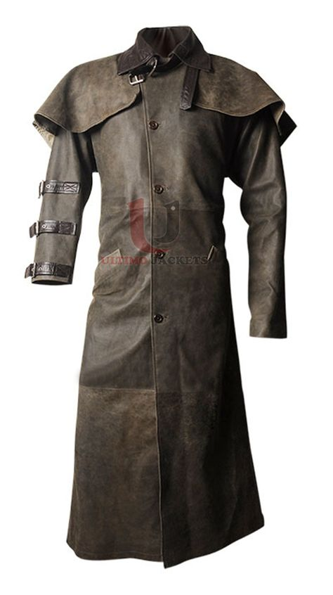 Hell Boy Movie Duster Leather Coat  Coat Features:   Real Leather Buckled closure on the collar Color brown Full buttoned closure Lapelled shoulder detailing Dark brown shirt style collar Belted detailing on right sleeve Right sleeve shorter than the one on the left Two waist s