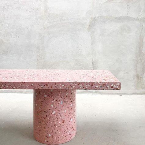 Pink Terrazzo bench - design - Home