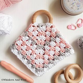 Teething Blanket lace border baby blanket With wooden ring Lovey Blanket made from Organic Cotton LOVEY TEETHING BLANKET- pom pom border