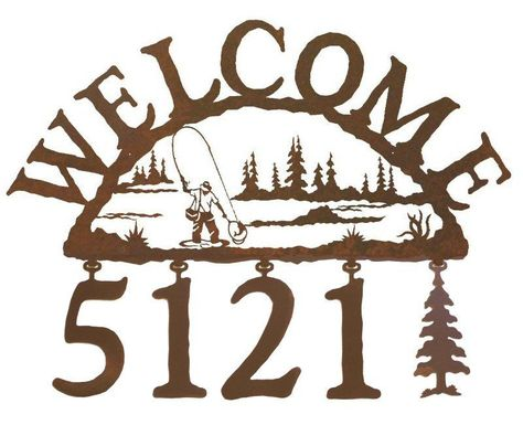 Photo of Man Fly Fishing Metal Address Welcome Sign