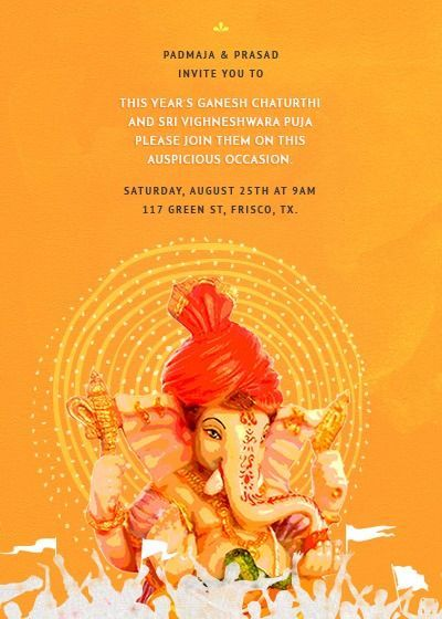 Ganeshchaturthi Vinyakachavithi Invitations Celebrate Chaturthi Inytescom Vinayaka Inyt Ganpati Invitation Card Invitation Cards Online Invitation Card