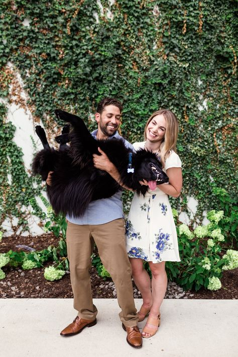 Family photo of couple with dog during their summer Chicago engagement session