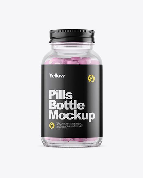 Clear Glass Bottle With Pills Mockup In Bottle Mockups On Yellow Images Object Mockups Mockup Free Psd Mockup Free Download Free Mockup