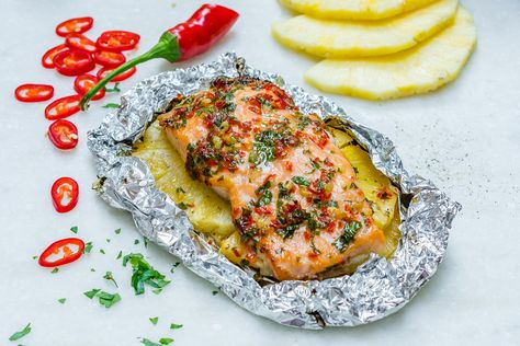 Easy Garlic Butter Salmon + Pineapple Packets Clean Eating Recipes