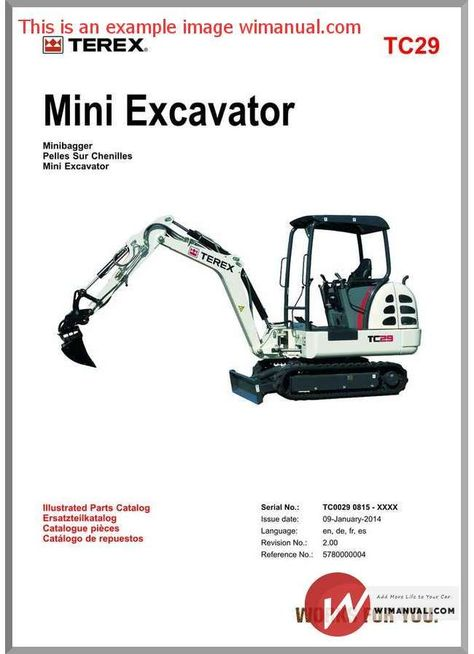 Terex Mini Excavator Tc29 Parts Manuals Mini Excavator Excavator Manual