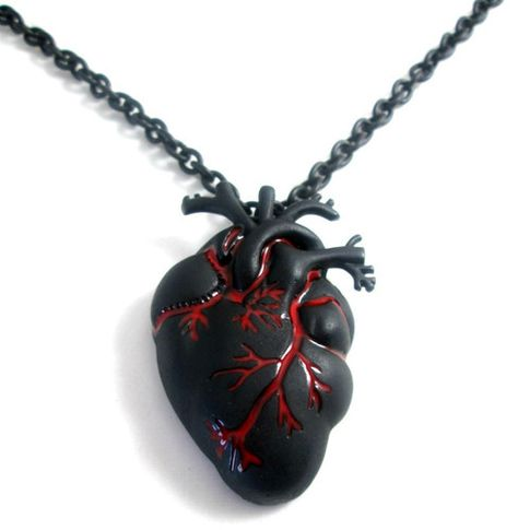80'S EMO Gothic HIP Steampunk Vampire Chain Necklace With Black Heart Pendant | eBay