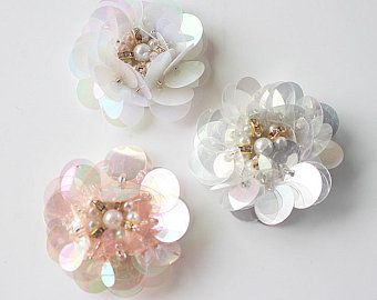 3cm Crystal Pearl Beaded Colorful Flower Applique cloth Patch DIY Brooch badge Craft decorative Shoes Party cloth handbag accessory supply